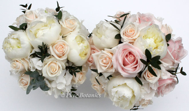 Rose and peony handtied posy bouquets in blush pastel shades.