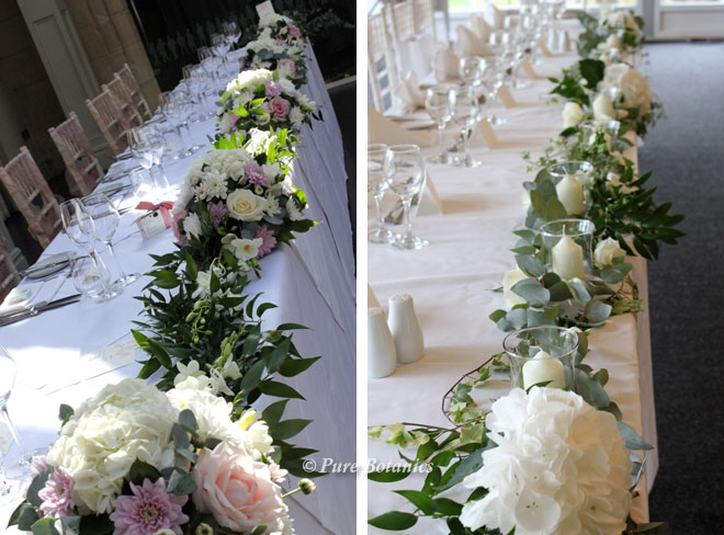 Two examples of wedding garlands used on the top table during the wedding breakfast.