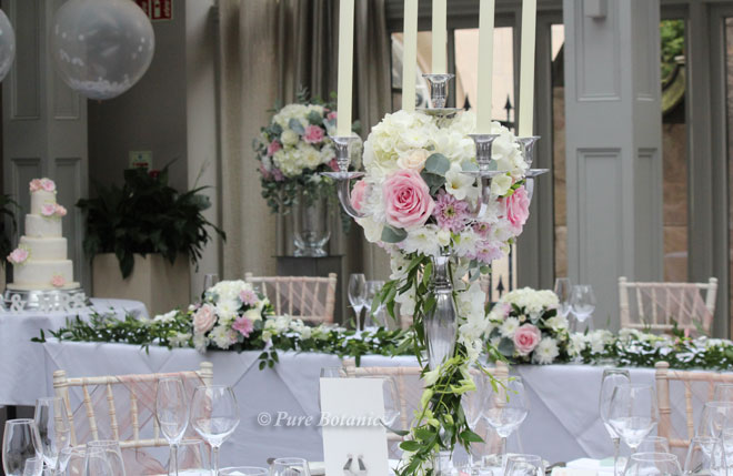 Floral wedding decorations at Hampton Manor, Solihull.