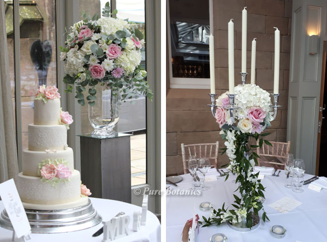 Blush pink wedding flower decorations at Hampton Manor, Solihull.