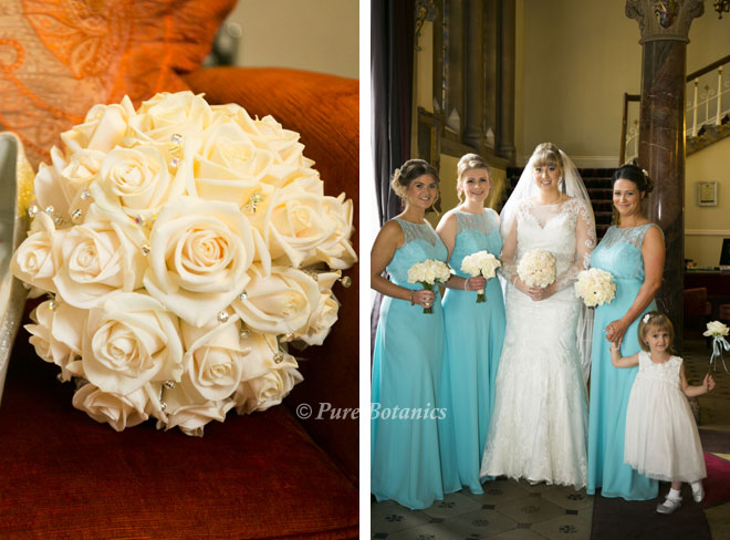 bride and bridesmaids bouquets featuring ivory roses and diamante clusters.
