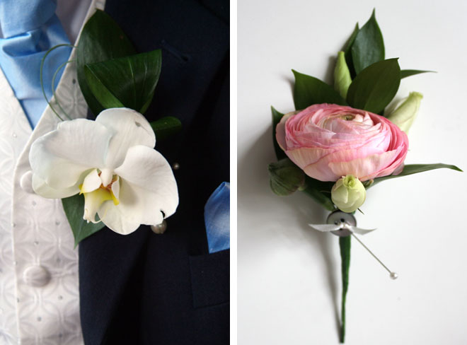 Orchid and ranunculus buttonholes