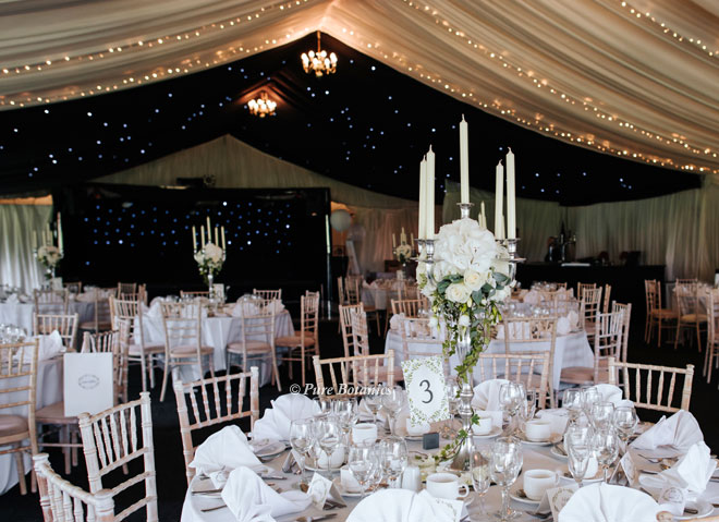 Nailcote Hall marquee decorated with candelabra centrepieces