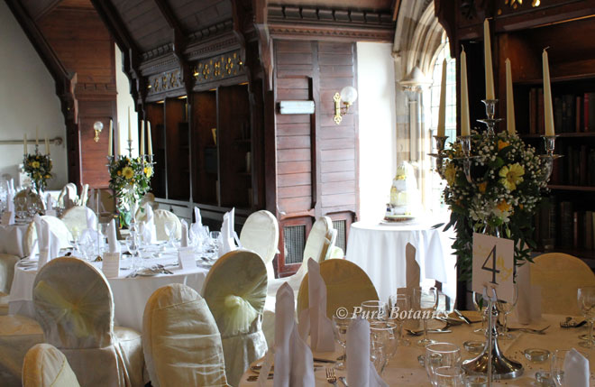 Candelabra wedding centrepieces at Ettington Park near Stratford.