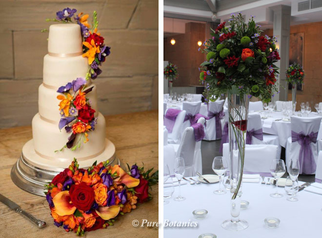 Autumn themed wedding flowers at Hampton Manor near Solihull.