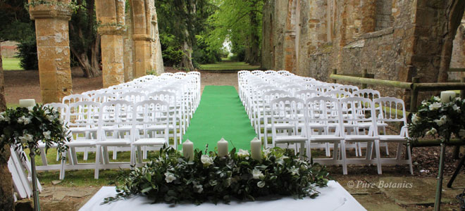 An outdoor wedding ceremony at Ettington Park hotel.