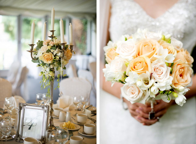 Vintage peach wedding flowers in Coventry.