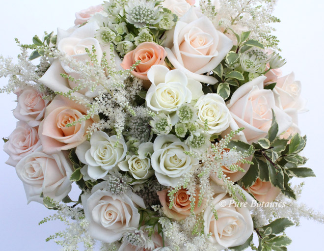 natural style bridal posy bouquet in soft peach and cream