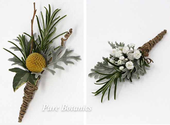 Rustic wedding buttonholes for a barn wedding venue.