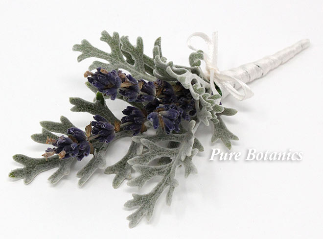 lavender and dusty miller buttonhole for a country wedding