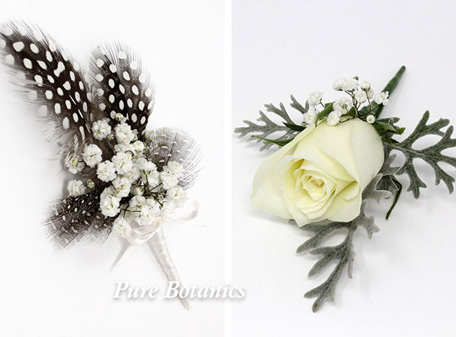 Gypsophila buttonholes for country weddings.