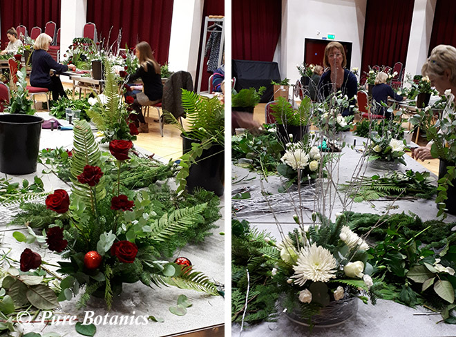 Learning how to create festive flower arrangements.
