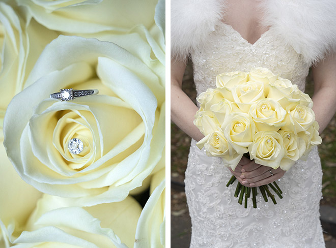 Ivory rose bridal bouquet with diamante detailing.